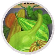 Gourd Purple Round Beach Towel