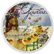 Gourmet Cover Featuring A Bowl And Glasses Round Beach Towel