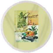 Gourmet Cover Featuring A Bowl Of Peaches Round Beach Towel by Henry Stahlhut