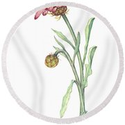 Round Beach Towel featuring the painting Gousblom by Heidi Kriel