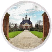 Round Beach Towel featuring the photograph Governor's Palace In Williamsburg, Virginia by Nicole Lloyd