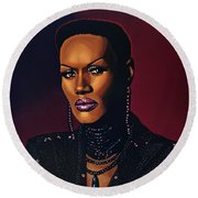 Grace Jones Round Beach Towel