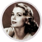 Grace Kelly, Actress, By Js Round Beach Towel