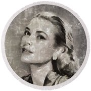 Grace Kelly By Mary Bassett Round Beach Towel