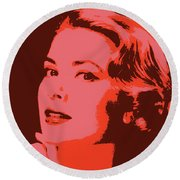 Grace Kelly Pop Art Round Beach Towel