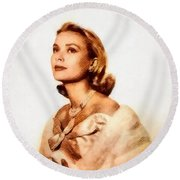 Grace Kelly, Vintage Actress By John Springfield Round Beach Towel