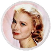 Grace Kelly, Vintage Actress Round Beach Towel