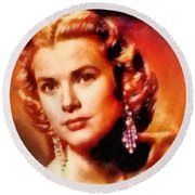 Grace Kelly, Vintage Hollywood Actress Round Beach Towel by Frank Falcon