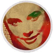 Grace Kelly Watercolor Portrait Round Beach Towel