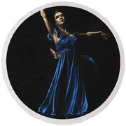 Graceful Dancer In Blue Round Beach Towel