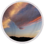 Graceful Pink Clouds Round Beach Towel