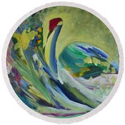 Graceful Swan Round Beach Towel by Denise Hoag