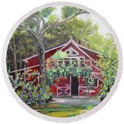 Gracie's Place At Ellijay River Vineyard - Ellijay, Ga Round Beach Towel by Jan Dappen