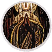 Round Beach Towel featuring the photograph Gracious Virgin Mary by Joan Reese