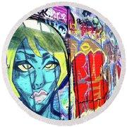 Round Beach Towel featuring the drawing Graffiti Alley, Boston, Ma by Patti Ferron