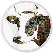 Graffiti Cow Abstract Modern Painting Pop Art Prints Poster  Robert Erod  Round Beach Towel