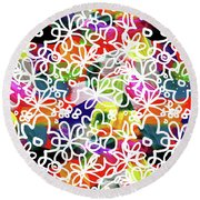 Round Beach Towel featuring the mixed media Graffiti Garden 2- Art By Linda Woods by Linda Woods