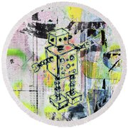 Graffiti Graphic Robot Round Beach Towel