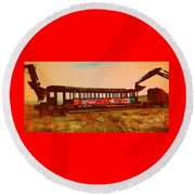 Graffiti Laden Rusted Out Saltair Train Car Scrapped February 18 2012 Round Beach Towel by Richard W Linford