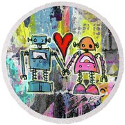 Graffiti Pop Robot Love Round Beach Towel