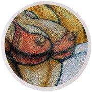 Graffiti-surfgirl_03 Round Beach Towel
