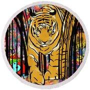 Graffiti Tiger Round Beach Towel by Sassan Filsoof