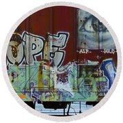 Grafitti Art Riding The Rails 6 Round Beach Towel