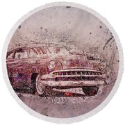 Round Beach Towel featuring the photograph Graffiti Merc by Joel Witmeyer