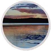 Round Beach Towel featuring the painting Graham Lake by Kenneth M Kirsch
