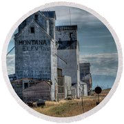 Grain Elevators, Wilsall Round Beach Towel