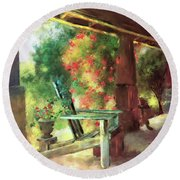 Round Beach Towel featuring the digital art Gramma's Front Porch by Lois Bryan