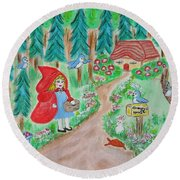 Little Red Riding Hoos With Grammy's House On The Mailbox Round Beach Towel