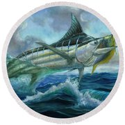 Grand Blue Marlin Jumping Eating Mahi Mahi Round Beach Towel