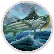 Grand Blue Marlin Jumping Eating Mahi Mahi Round Beach Towel