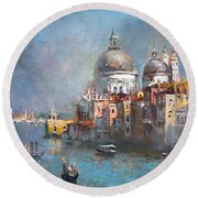 Grand Canal Venice 2 Round Beach Towel