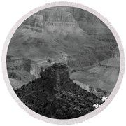 Round Beach Towel featuring the photograph Grand Canyon 4 In Black And White by Debby Pueschel