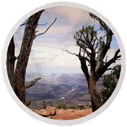 Round Beach Towel featuring the photograph Grand Canyon, Az by James Bethanis