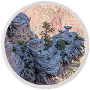 Round Beach Towel featuring the photograph Grand Canyon Cliff Wall, Arizona by A Gurmankin