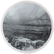 Grand Canyon In The Fog Round Beach Towel