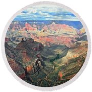 Round Beach Towel featuring the digital art Grand Canyon by Kai Saarto