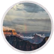 Grand Canyon Monsoon Rainbow Round Beach Towel