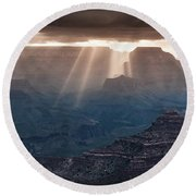 Round Beach Towel featuring the photograph Grand Canyon Morning Light Show Pano by William Lee