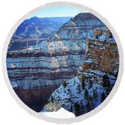 Grand Canyon National Park In Winter Round Beach Towel