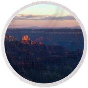 Grand Canyon North Rim At Sunset Round Beach Towel