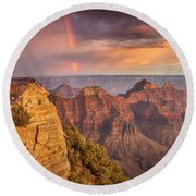 Grand Canyon North Rim Rainbow Round Beach Towel