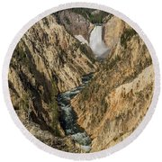 Grand Canyon Of The Yellowstone And Yellowstone Falls Round Beach Towel