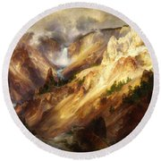 Grand Canyon Of The Yellowstone Round Beach Towel