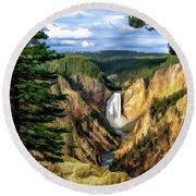 Grand Canyon Of The Yellowstone Waterfall Round Beach Towel
