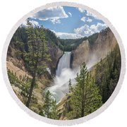 Grand Canyon Of Yellowstone Round Beach Towel by Alpha Wanderlust
