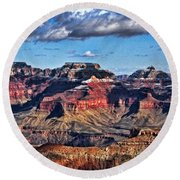 Round Beach Towel featuring the photograph Grand Canyon Shadows by Roberta Byram